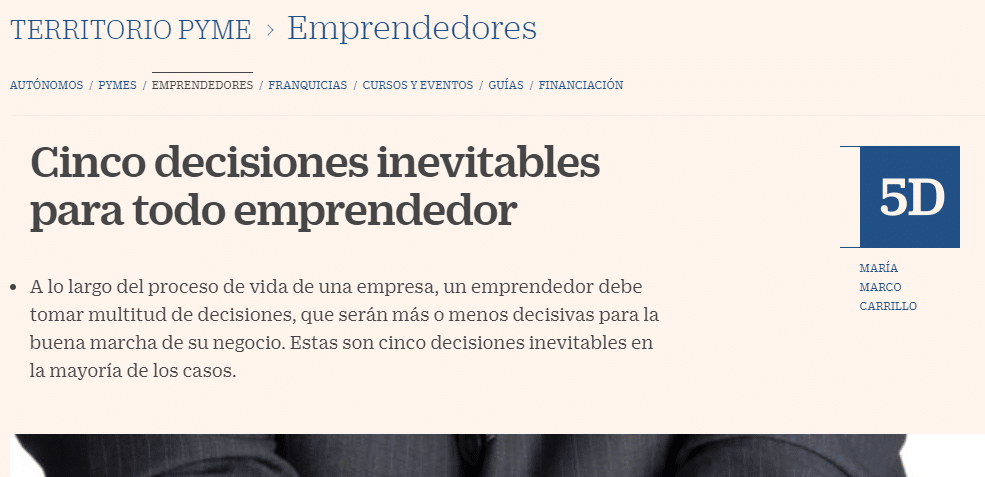Imagen post decisiones de emprendedores